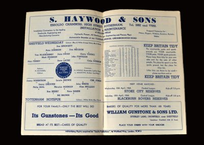 Sheff Wed v Spurs 13.04.1964 (Peter and Bronco picked to play but withdrawn on FA orders)