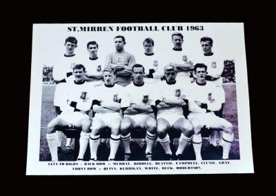 St Mirren Team Photo 1963