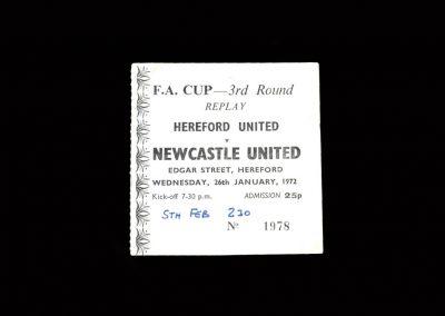 Hereford v Newcastle 26.01.1972 | Hereford v Newcastle 05.02.1972 - Ticket