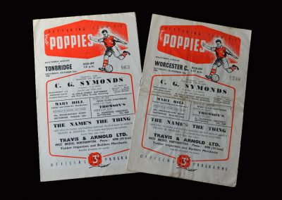 Kettering v Tonbridge 27.10.1956   Kettering v Worcester 10.11.1956