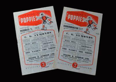 Kettering Reserves v Skegness 17.11.1956   Kettering v Kidderminster 24.11.1956
