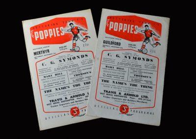 Kettering v Merthyr 15.12.1956   Kettering v Guildford 24.12.1956