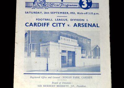 Arsenal v Cardiff 26.09.1953