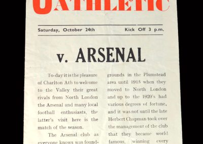 Arsenal v Charlton 24.10.1953 - Pirate