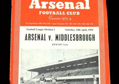 Arsenal v Middlesbrough 24.04.1954