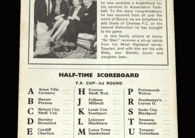 Chelsea v Northampton 09.01.1965 (Knighthood for Stan)