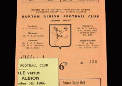 Burton Albion v Port Vale 05.12.1966