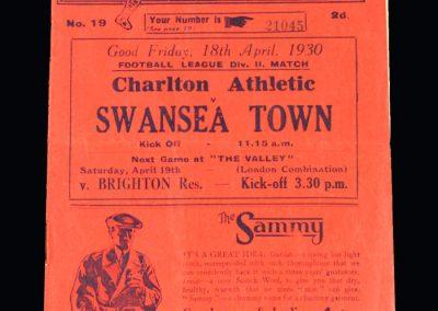 Charlton v Swansea 18.04.1930