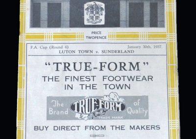 Luton v Sunderland 30.01.1937 - FA Cup 4th Round