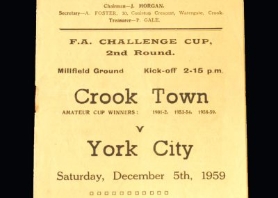 Crook v York 05.12.1959 - FA Cup 2nd Round