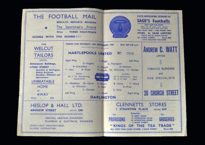 Hartlepool v Darlington 19.09.1949