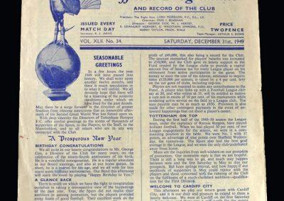 Spurs v Cardiff 31.12.1949