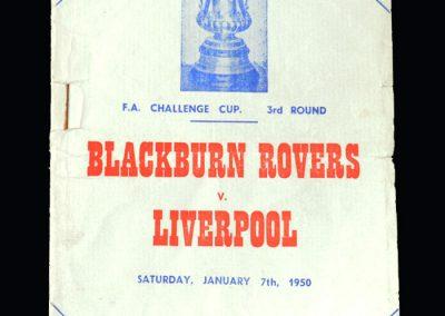 Blackburn v Liverpool 07.01.1950 - FA Cup 3rd Round