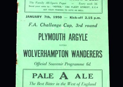 Plymouth v Wolves 07.01.1950 - FA Cup 3rd Round