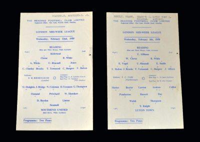 Reading Reserves v Luton Reserves 08.02.1950   Reading Reserves v Southend Reserves 22.02.1950