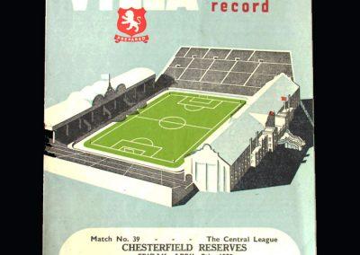 Aston Villa Reserves v Chesterfield Reserves 07.04.1950   Aston Villa v Chelsea 08.04.1950