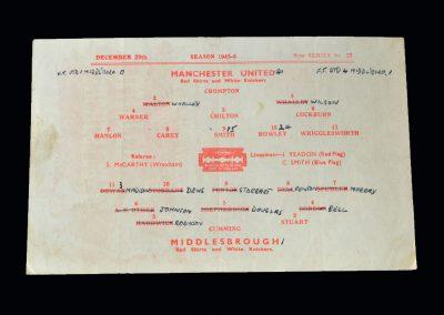 Man Utd v Middlesbrough 29.12.1945