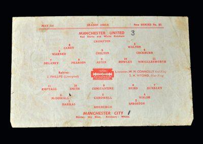 Man Utd v Man City 01.05.1946 - Lancashire Cup Semi Final