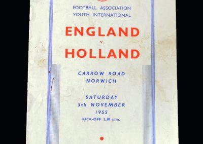 England Youth v Holland Youth 05.11.1955