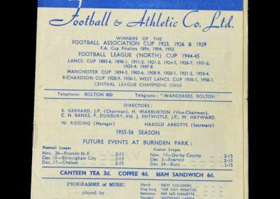 Bolton v Man Utd 12.11.1955 Eddie Coleman debut