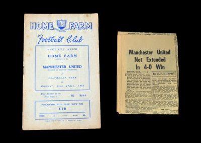 Man Utd v Home Farm 23.04.1956 - Friendly