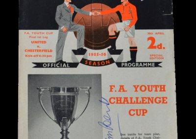 Man Utd Youth v Chesterfield Youth 30.04.1956 - FA Youth Cup Final 1st Leg