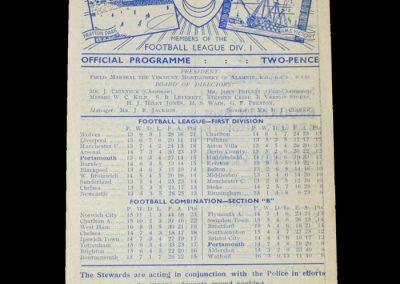 Man Utd v Portsmouth 29.10.1949