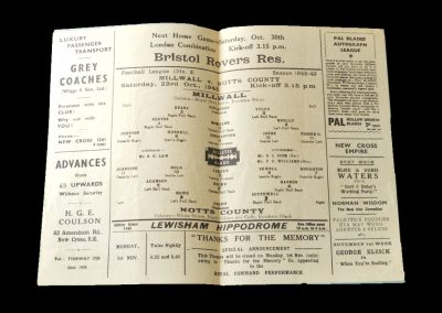 Notts County v Millwall 23.10.1948