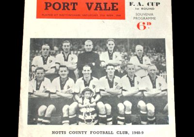 Notts County v Port Vale 27.11.1948 - FA Cup 1st Round