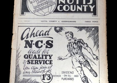 Notts County v Airdrieonians 11.04.1949 - Friendly