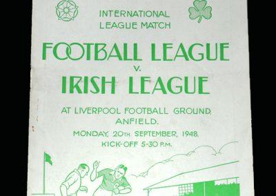 English League v Irish League 20.09.1948