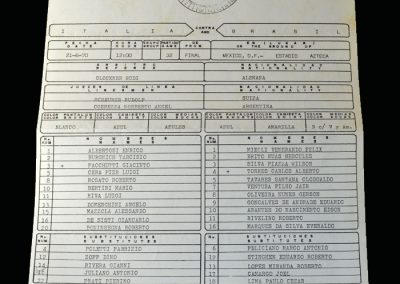 Brazil v Italy 21.06.1970 - World Cup 1970 Final Team Sheets