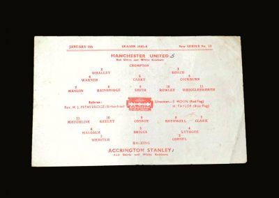 Man Utd v Accrington Stanley 09.01.1946 - FA Cup 3rd Round