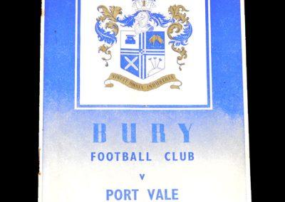 Bury v Port Vale 13.11.1954