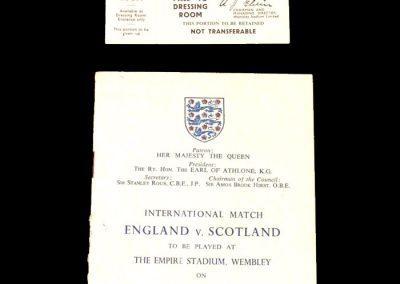England v Scotland 02.04.1955 - Programme of Arrangements and Dressing Room Pass