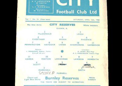 Burnley Reserves v Man City Reserves 16.04.1960