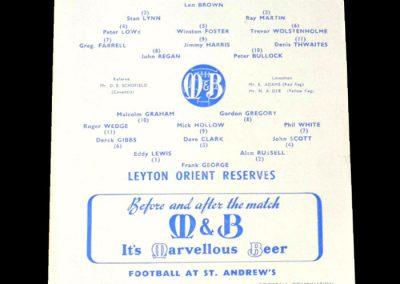 Leyton Orient Reserves v Birmingham Reserves 24.04.1963