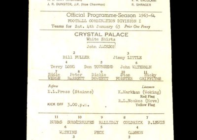 Crystal Palace Reserves v Cardiff Reserves 04.01.1964