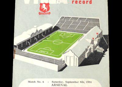 Aston Villa v Arsenal 08.09.1951   Aston Villa v Huddersfield 10.09.1951