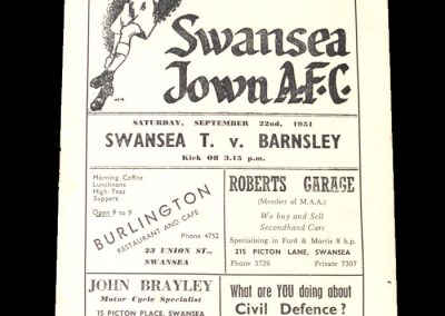 Swansea v Barnsley 22.09.1951
