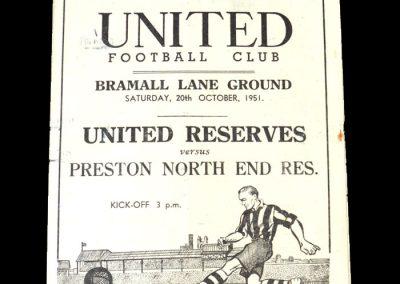 Sheff Utd Reserves v Preston Reserves 20.10.1951