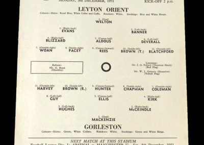Leyton Orient v Gorleston 03.12.951 - FA Cup 1st Round 2nd Replay