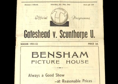 Gateshead v Scunthorpe 19.01.1952