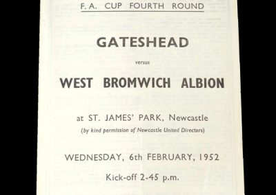 Gateshead v West Brom 06.02.1952 - FA Cup 4th Round (at St James Park)