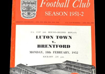 Luton v Brentford 18.02.1952 - FA Cup 4th Round 2nd Replay