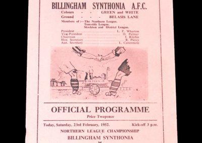 Billingham Synthonia v Stanley 23.02.1952
