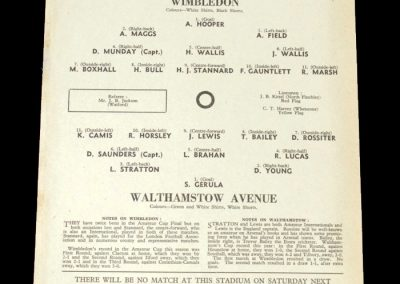 Wimbledon v Walthamstow 05.03.1952 - FA Amateur Cup 2nd Round