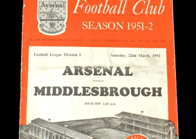 Arsenal v Middlesbrough 22.03.1952