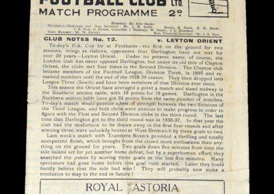 Darlington v Leyton Orient 11.12.948 - FA Cup 2nd Round