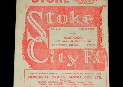 Stoke v Blackpool 29.01.1949 - FA Cup 4th Round